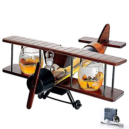 Zxqiang Juego De Decantador Whisky para Aviones con 1000ml Recipiente Vidrio,2x300ml Vasos De Cristal Y Soporte De Avión Vintage,Dispensador De Vino Tinto con Grifo para Regalo De Piloto