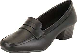 Women's Square Toe Slip-On Chunky Block Low Heel Penny Loafer