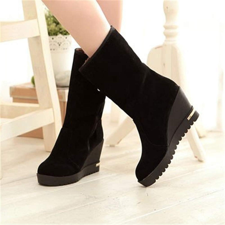 Btrada Warm Snow Boots for Women Winter Comfortable Fur Slip On Wedges Platform Non-Slip Mid-Calf shoes