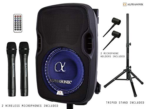 """Alphasonik 10"""" Portable Rechargeable Battery Powered 1000W Pro DJ Amplified Loud Speaker with 2 Wireless Microphones Echo Bluetooth USB SD Card Aux MP3 FM Radio PA System LED Ring Karaoke Tripod Stand"""