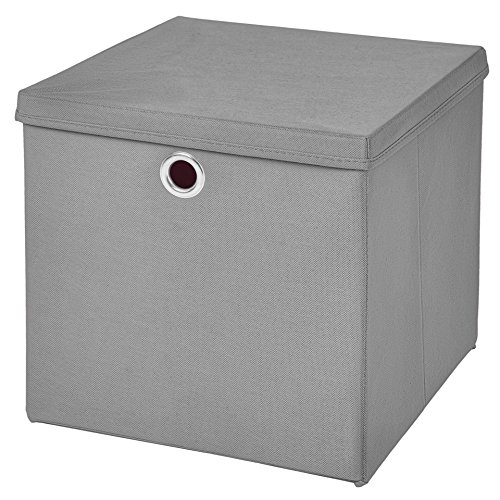 CM3 1 Stück Hellgrau Faltbox 32 x 32 x 32 cm Aufbewahrungsbox faltbar mit Deckel