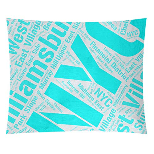 Review Of ArtVerse Rand Cites, New York Districts Word Art-Cyan Wall Tapestry