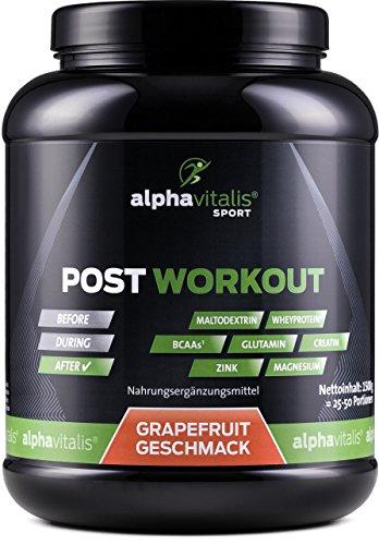 POST WORKOUT Shake mit Maltodextrin, Whey Protein, EAA, BCAA, Creatin, L-Glutamin, Magnesium uvm. - 1500g - Grapefruit - Die wichtigsten Nährstoffe nach deinem Workout! (Grapefruit, 1500g) EINWEG