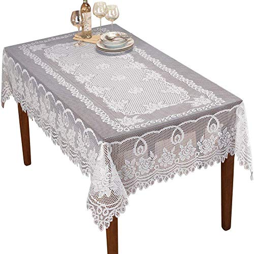 Sourcemall - Mantel de Encaje Floral, Color Blanco, Blanco, 152,4 x 228,6 cm