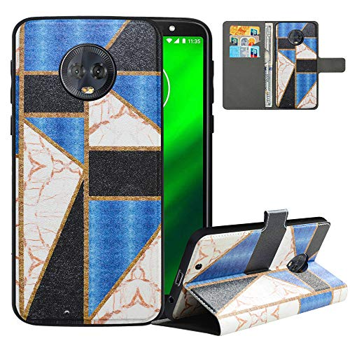 LFDZ Compatible with Moto G6 Case/Moto G (6th Generation) Case,PU Leather Moto G6 Wallet Case with [RFID Blocking],2 in 1 Magnetic Detachable Flip Slim Cover Case for Motorola Moto G6,Marble