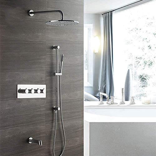 DONDOW Sistema de Ducha, Oculto grifo de la ducha juego de ducha en la pared del termostato 3 Función cuerpo de la válvula de cobre 300 Cúpula aerosol hermosa práctica