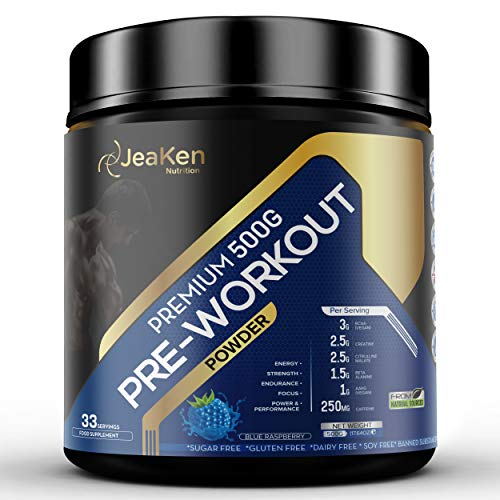 JeaKen - PRE WORKOUT POWDER - Unique Pre Workout Supplement for Men and Women with Citrulline, Creatine, Caffeine, Beta-Alanine and AAKG - 33 Servings(15g Per Serving), 500mg Non-GMO(Blue Raspberry)