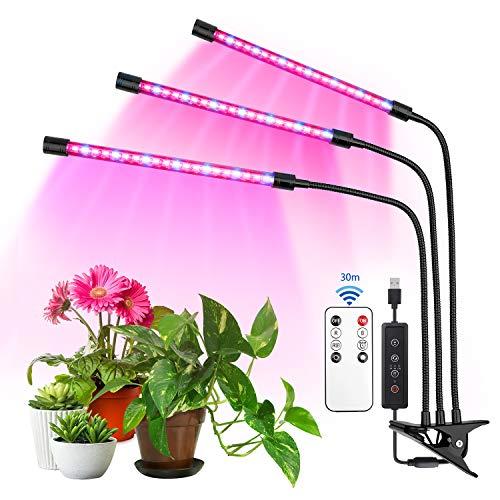 Lulalula - Luz de crecimiento para plantas de interior con espectro mixto rojo, cuello de cisne ajustable, 3 6 12 h