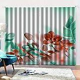 shkdif 3D Cortinas Opacas Hermosa Flor,Cortina Opaca Térmica Aislante Cortinas para Salón Dormitorio Y Habitación220Wx215H Cm