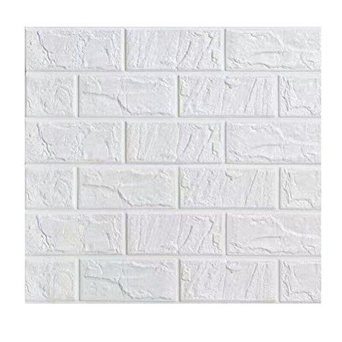 VORCOOL Brique Papier Peint Peel et Bâton Auto-Adhésif Panneaux Muraux PE Mousse Papier Peint BRICOLAGE pour Murs TV Fond de Canapé Mur Décor 60x30cm (Blanc)