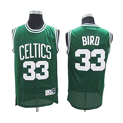 YB-DB Camiseta de baloncesto Larry Bird # 33 – Boston Celtics, Cool Transpirable Tela Nueva Bordada Retro, Unisex Sin Mangas Camiseta (S – 2XL), color Verde, tamaño XL (180~185cm)