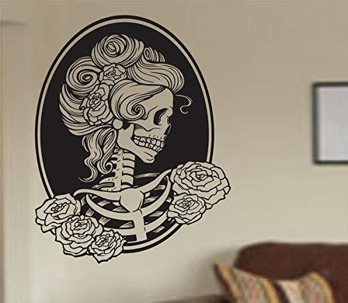 ASFGA Abstraktes Gesicht Klassische Frau Wand Vinyl Aufkleber Aufkleber Kunst Grafik Aufkleber Zucker Skelett Wandaufkleber Halloween Friseursalon Home Decoration 112x142cm