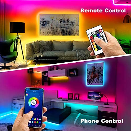 Phopollo Bluetooth Led Strip Lights, 32.8ft Flexible Led Lights with Phone Control and 24 Keys Remote for Bedroom, House and Holiday Decoration 2