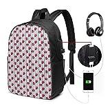 Schulrucksack-Taschen mit USB-Ladeanschluss und Kopfhöreranschluss, rosa getönter...