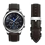 Fullmosa Compatible Samsung Galaxy 46mm/Gear S3 Frontier/Classic Watch Bands, Quick Release Leather Smart Watch Band for Garmin Vivoactive 4 and Active, 22mm Watch Band, Coffee + silver buckle