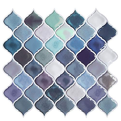 Pegatinas de Baldosas, 3D Auto-Adhesivo Pegatina de Pared Revestimiento Border Decorativo Impermeable Pegatinas de Azulejos para Cocina y Baño 11 'x 10' (A11-4 Piezas)