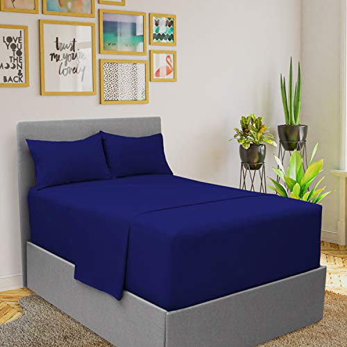 Mellanni Extra Deep Pocket Sheets - King Size Sheet Set - 4 Piece 1800 Brushed Microfiber Bedding with Extra Deep Pocket Fitted Sheet - Easily Fits 18-21 inch Mattress (King, Imperial Blue)