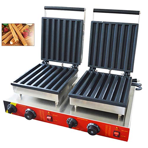 TECHTONGDA Electric Churro Maker Machine 110V Spanish Churro Baking Equipment Waffle Iron Baker Plates Home Commercial Use (14pcs 3000w # 220354)