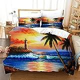 LXTOPN - Juego de cama 3D paisaje de playa, funda de edredón y funda de almohada, impresión digital 3D, multicolor, juego de cama de 3 piezas (9,135 x 200 cm)