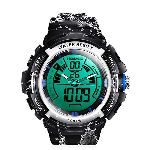 TEKMAGIC - Reloj de natación Sumergible con Alarma y cronómetro, 100 m, Impermeable, con Pantalla de Doble Zona horaria, Formato de 12/24 Horas, para Hombres, Mujeres, Adolescentes, niños y niñas