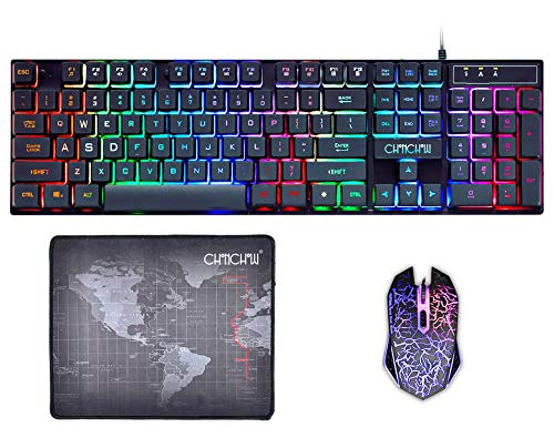 Gaming Keyboard and Mouse Mousepad Combo Mechanical Feeling Rainbow LED Backlight Emitting Character 4800DPI Adjustable USB Mice Compatible with PC Resberry Pi iMac TDB910(Black)