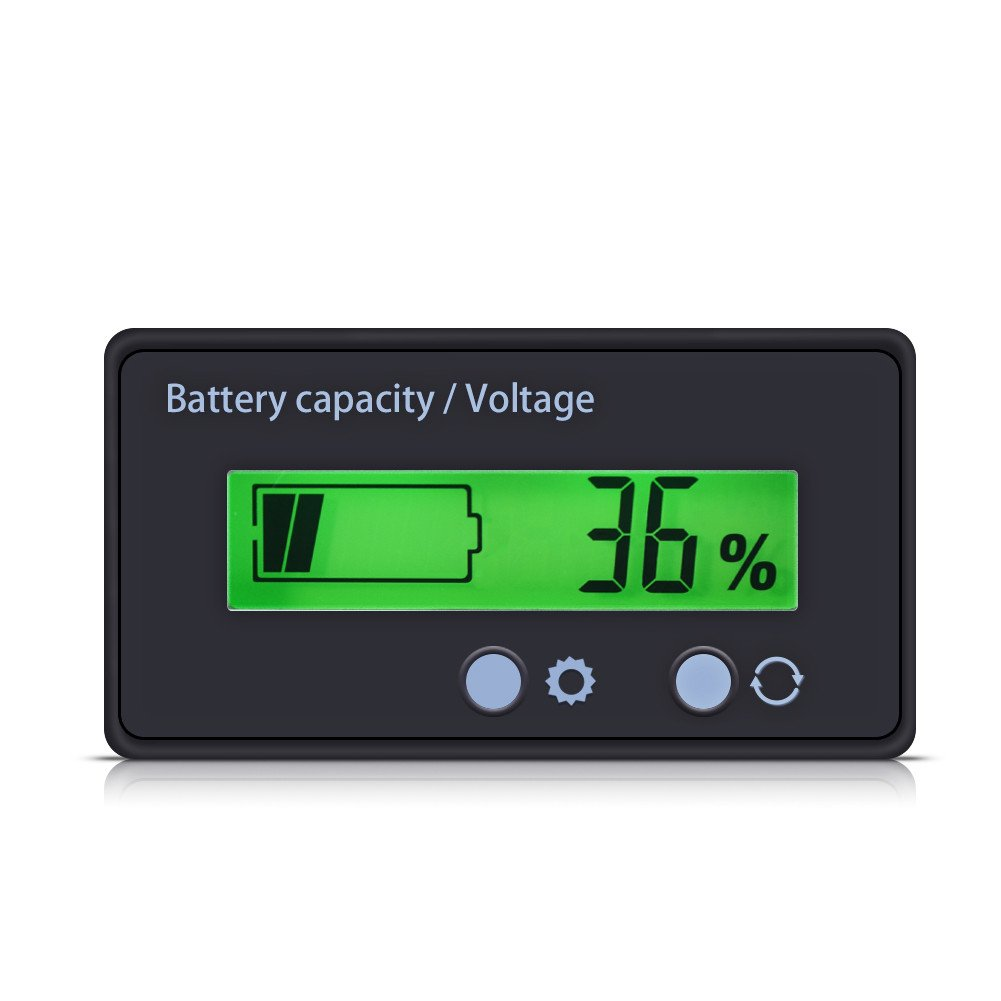 Battery Capacity Monitor, 6-63V Waterproof Voltage Capacity Percent Meter Battery Indicator 12V/24V/36V/48V Monitor with Green Backlight for Lithium Batteries and Lead-Acid Batteries