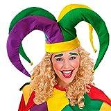 NET TOYS Originelle Narrenkappe für Erwachsene - bunt - Außergewöhnliche Unisex-Kopfbedeckung Hofnarr-Mütze für Gaukler & Jecken - Genau richtig für Karneval & Fasching