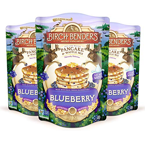Blueberry Pancake & Waffle Mix By Birch Benders, Made With Real Blueberries, Just Add Water, Non-Gmo, Dairy Free, Just Add Water, 3 Pack (14 Oz Each)