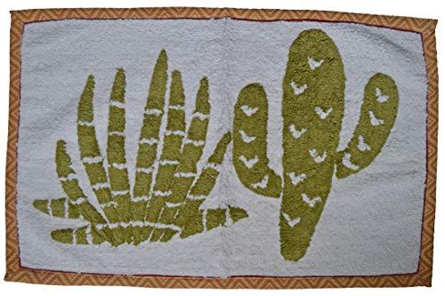 Designs Emporium Tapis de Bain Doux Motif Catus Vert 50 cm x 80 cm Lavable en Machine