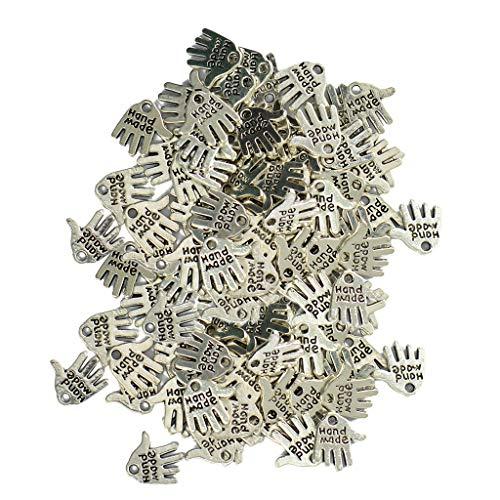 freneci Encantos Colgantes con Forma de Mano de Aleación 100x para Pulsera de Collar de Bricolaje 12 Mm