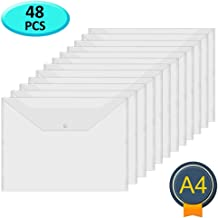 Acrux7 48Pcs Plastic Wallets Folders - A4 Document Folder Wallet Popper Wallets with Button for School,Office (Clear)