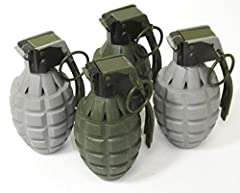 "Toy Battery Operated Pineapple Hand Grenades (Batteries Included) Quantity: 4. Colors: 2 Dark Green and 2 Gray Dimensions: 4"" length x 2"" diameter. Material: Hard Plastic. Has the word grenade engraved on the side. Hold trigger and timer sounds for 8..."