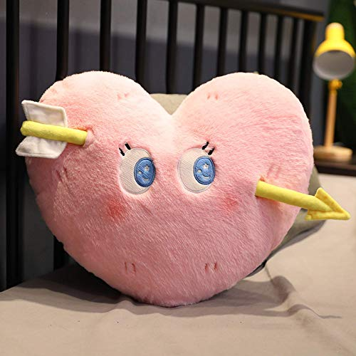 N / A 4 colors of falling in love heart plush pillow heartbeat plush pillow love at first sight through heart funny nap pillow about 50cm