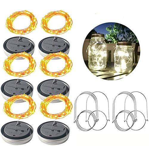 XINGJIJIJIA Premium Solar Tapa del Recipiente de alimentación Se Ilumina Impermeable Jar Firefly Tapas Cadena Luces for al Aire Libre del jardín del Patio del Banquete de Boda de Navidad La Seguridad