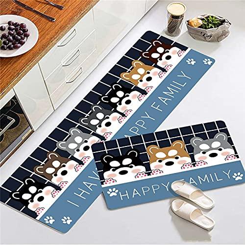SunYe Tappeto Stampato A Fumetti Tappeto da Cucina Stampato A Forma di Cucciolo Tappetino da Cucina con Fiore Verde Tappetino da Cucina Assorbente Antiscivolo Addensato Adatto per Cucina Bagno Porta