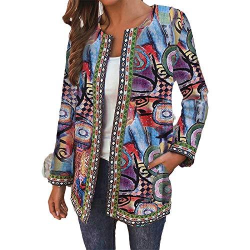 Katenyl Frauen Retro bedruckte Rundhalsjacke Streetwear Casual Relaxed Fashion Regular Coat mit Taschen Europa und Amerika 3XL