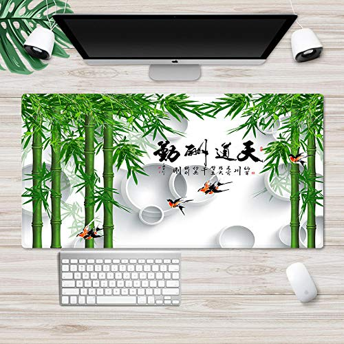 YVQLXJ Large Gaming Mouse Pad Green Bamboo Chinese Characters with Stitched Edges Nonslip Base Extended XXL Size Custom Mousepad for Desktop, Laptop, Keyboard, Consoles & More (35.4x15.7x0.12 in)