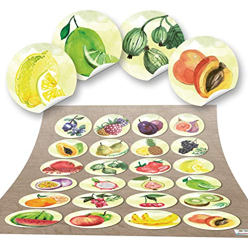 48 ronde stickers OBST keukenstickers eten deco keuken stickers glas sticker keuken-etiketten zelfklevend kinderen kleuterschool