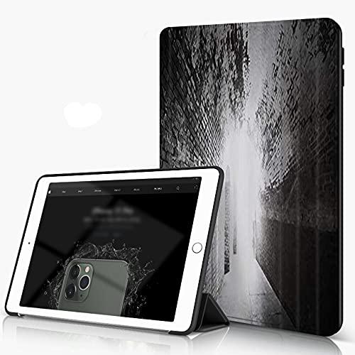 She Charm Carcasa para iPad 10.2 Inch, iPad Air 7.ª Generación,Edificio de túnel de Corredor de Pared de ladrillo Blanco y Negro,Incluye Soporte magnético y Funda para Dormir/Despertar