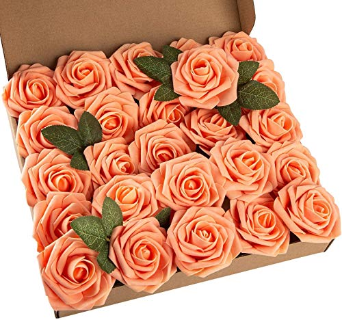 Msrlassn Künstliche Rosen Blumen Schaumrosen Foamrosen Kunstblumen Rosenköpfe Gefälschte Kunstrose Rose DIY Hochzeit Blumensträuße Braut Zuhause Dekoration (Orange, 25 Stück)