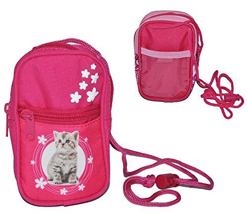 alles-meine.de GmbH Handytasche / Geldbörse / Brustbeutel - Katze - Geldbeutel Portemonnaie für Kinder - Geld Handy Geldtasche Mädchen Kätzchen Blumen pink