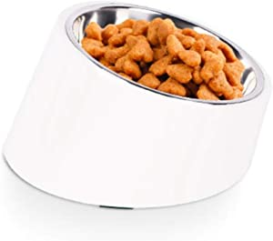 15° Slanted Bowl for Dogs and Cats, Tilted Angle Bulldog Bowl Pet Feeder, Non-Skid & Non-Spill, Easier to Reach Food 1.5 Cup