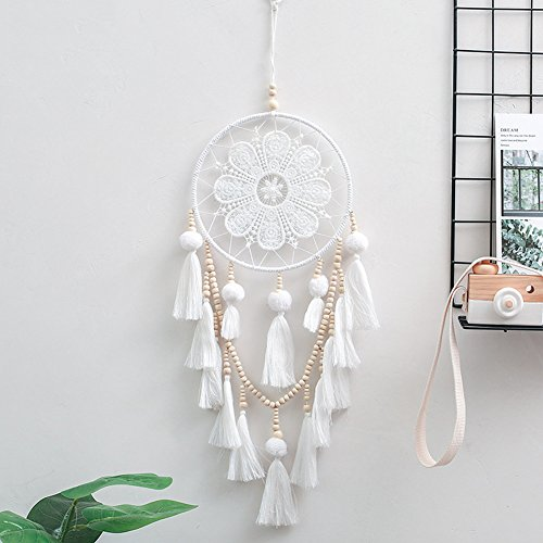 CHoppyWAVE Hand Knitted Indian Wood Beads Tassels Dream Catcher Home Wall Hanging Decor - White