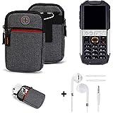 K-S-Trade Gürtel-Tasche + Kopfhörer Für Cyrus cm 7 Handy-Tasche Holster Schutz-hülle Grau Zusatzfächer 1x