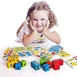 ZONJIE Puzzle de Expresiones de Madera, Juegos de Rompecabezas de Emparejar Caras con 12 Bloques de Construcción y 50 Diseño Tarjetas, Juguetes Educativos Montessori para Niños y Niñas 2 3 4 5 Años