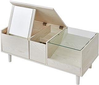 テーブルドレッサー ドレッサー ローテーブル センターテーブル テーブル ロータイプ 鏡台 メイク 化粧台 化粧 ミラー 引き出し 鏡 一人暮らし ガラステーブル コンパクト