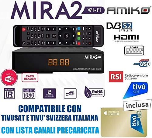 Decoder Tivusat HD 1080P Compatibile Amiko Mira Con Tessera Gold Inclusa Da Attivare