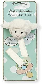 Bearington Baby Lamby Plush Lamb Pacifier Holder with Satin Leash and Clip