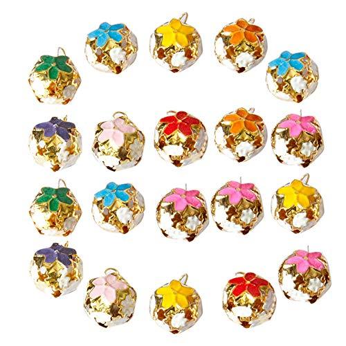 Merssavo 20pcs Coloré Jingle Bells Bricolage Bijoux Accessoires Chien Chien Chat Pendentif 18mm