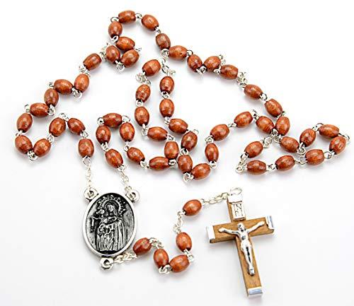 Cruz de Madera en Rosario Religioso VIRGEN DEL ROSARIO, de 59 Cuentas de Madera. Cruz de 5 cms. Bolsa de Lino y Caja de Madera Decorada- Rosario Madera Marron VR